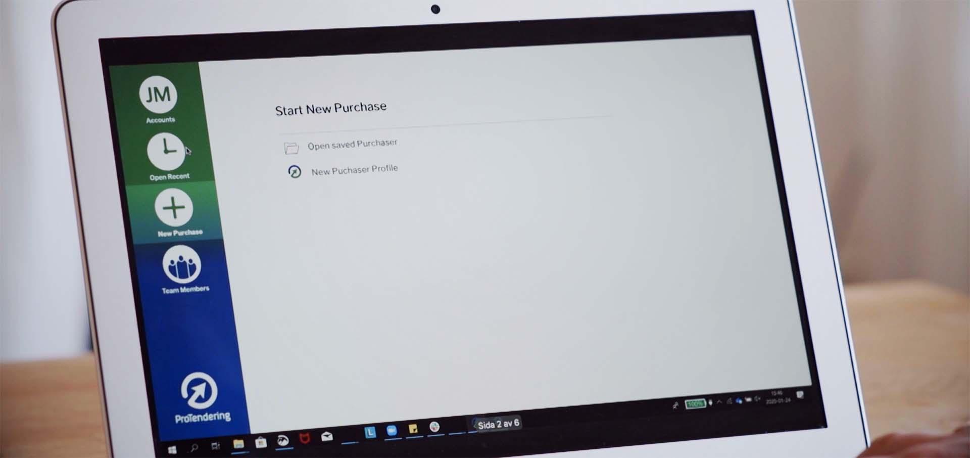 ProTendering Start Screen